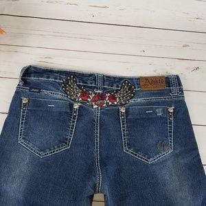 """ADIKTD Boot Cut Embellish Distressed Jeans 12w 32"""""""